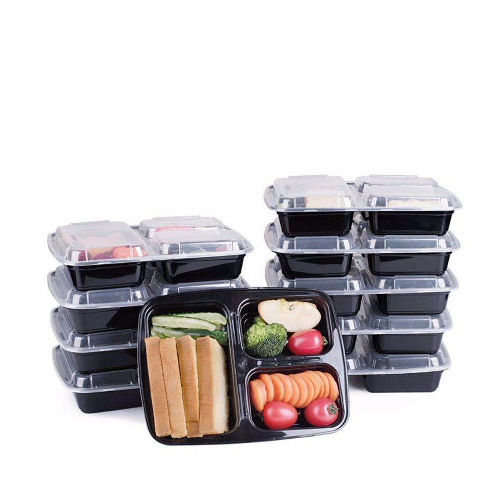 10 Meal Prep Containers 3 Compartment Food Storage Plastic Reusable Microwavable  sc 1 st  Pinterest & 10 Meal Prep Containers 3 Compartment Food Storage Plastic Reusable ...