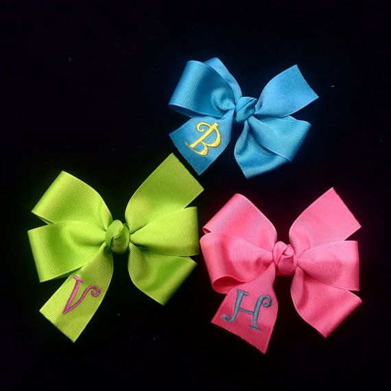 Personalized Bow Pinwheel Bow Glitter Monogram Bow Large Pinwheel Hair Bow Monogrammed Bow Large Bow Monogram Hair Bow 5 Inch Bow