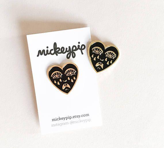Tattoo pin badge, crying heart pin, soft enamel badge, alternative