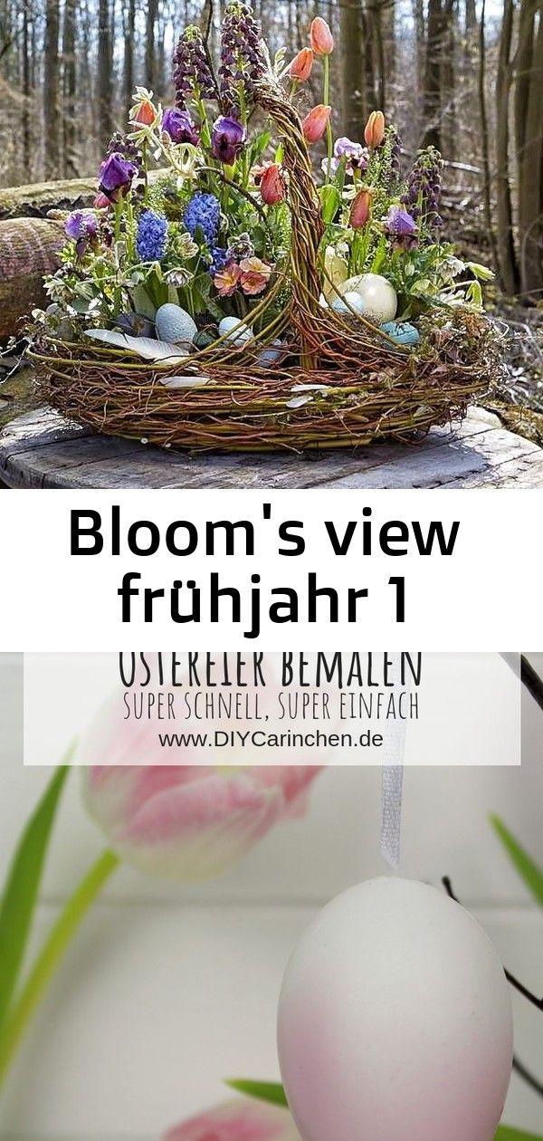 Blooms view frühjahr 1 Pretty spring decorating idea for your Easter table DIY Ostereier mit Sprühlack bemalen  verzieren  die schnellste Bastelidee zu Ostern D...