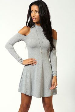 light grey shoulder cutout dress