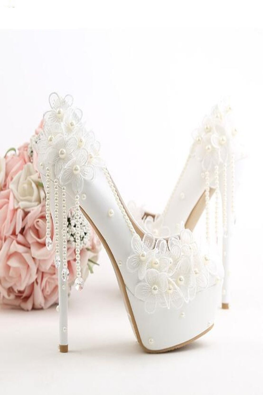 Women Lace Wedding Shoes White Flowers