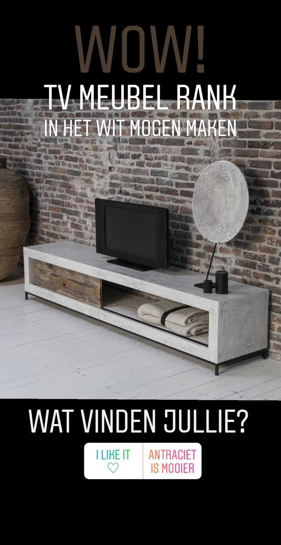 Oud Wit Tv Meubel.Stoer Industrieel Tv Meubel Van Beton Op Maat Gemaakt Met Een