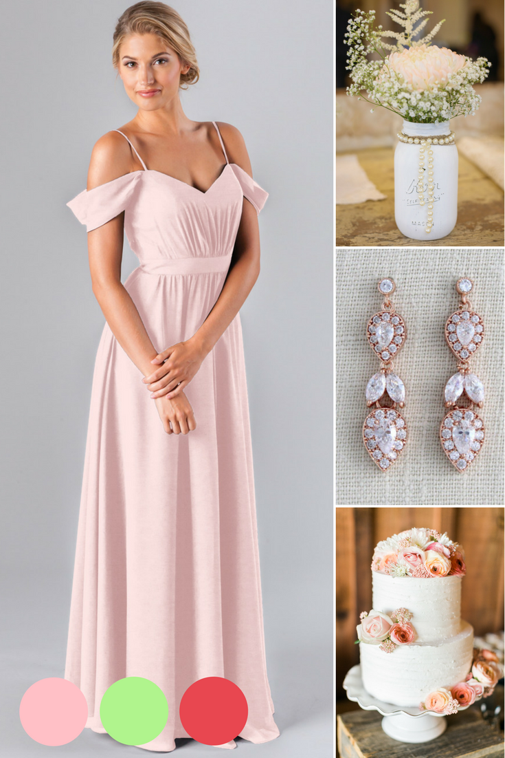 cc2cba2a14e Blush pink wedding details. Gold rose drop earrings are the perfect  accessory for a blush pink bridesmaid dress!