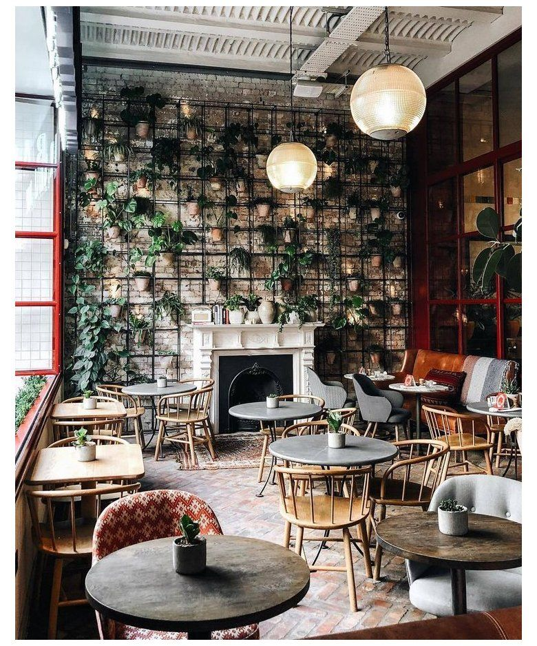 Love The Plant Wall Coffee Shop Design Cozy Cozy Space In 2020 Cafe Interior Design Coffee Shop Decor Cafe Decor