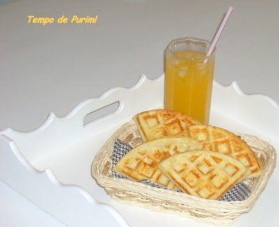 Waffle de queijo parmesão - Tempo de purim!