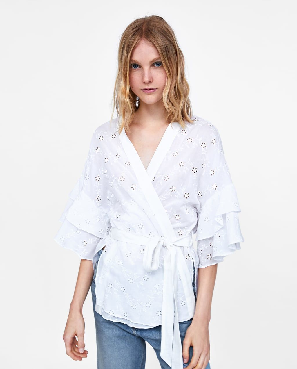 044258d7625137 Image 4 of RUFFLED WRAP BLOUSE from Zara | haircuts | Wrap blouse ...