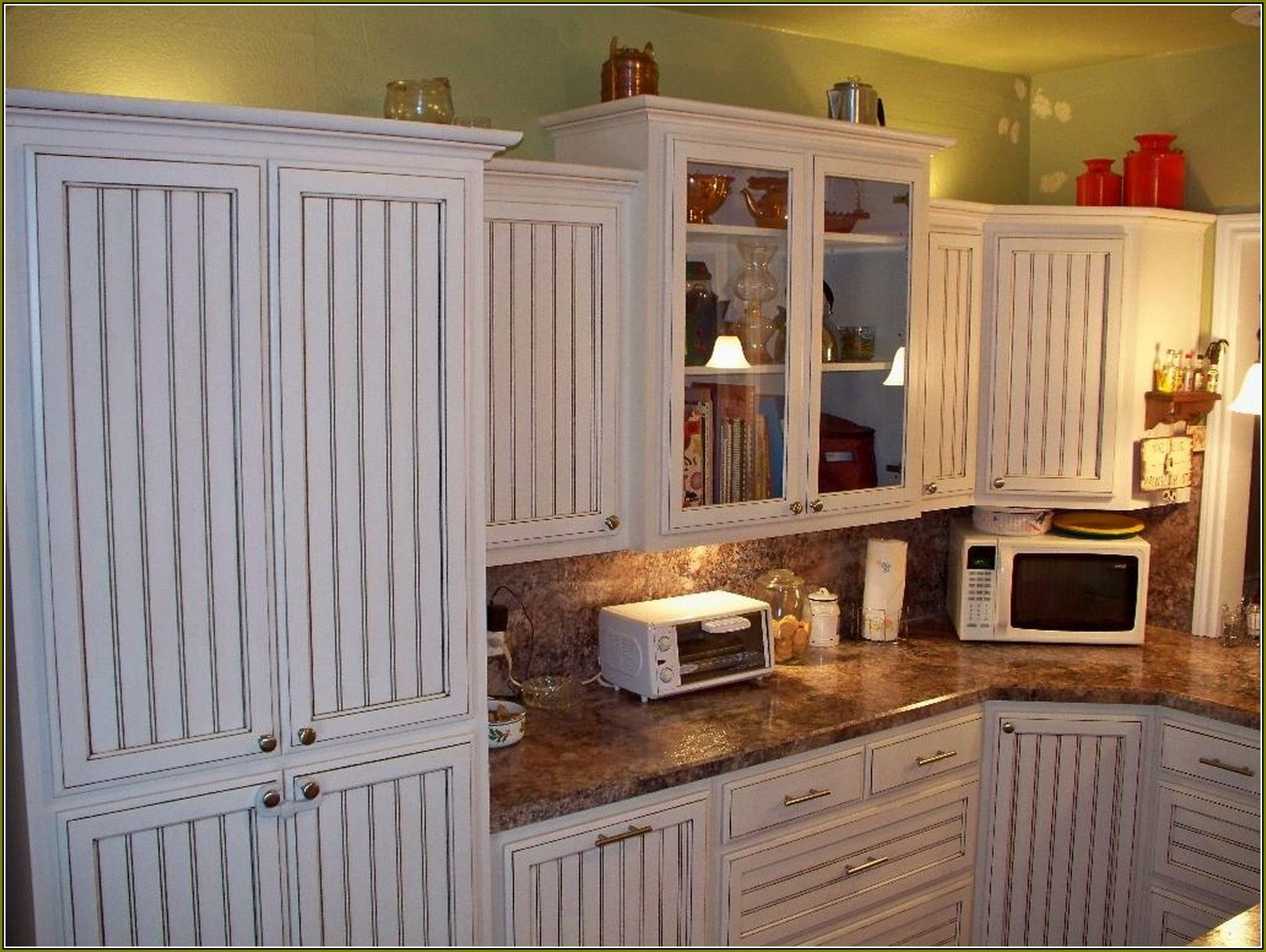 White Beadboard Kitchen Cabinet Doors Combined With Marble
