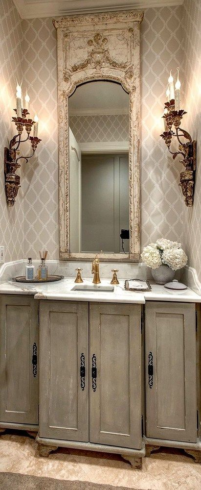 french country powder room french country style pinterest badezimmer waschbecken. Black Bedroom Furniture Sets. Home Design Ideas