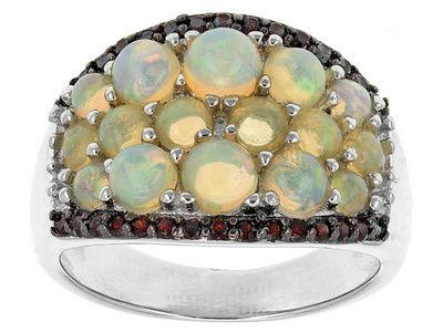 1.39ctw Round Ethiopian Opal With .19ctw Round Vermelho Garnet(Tm) Sterling Silver Band Ring