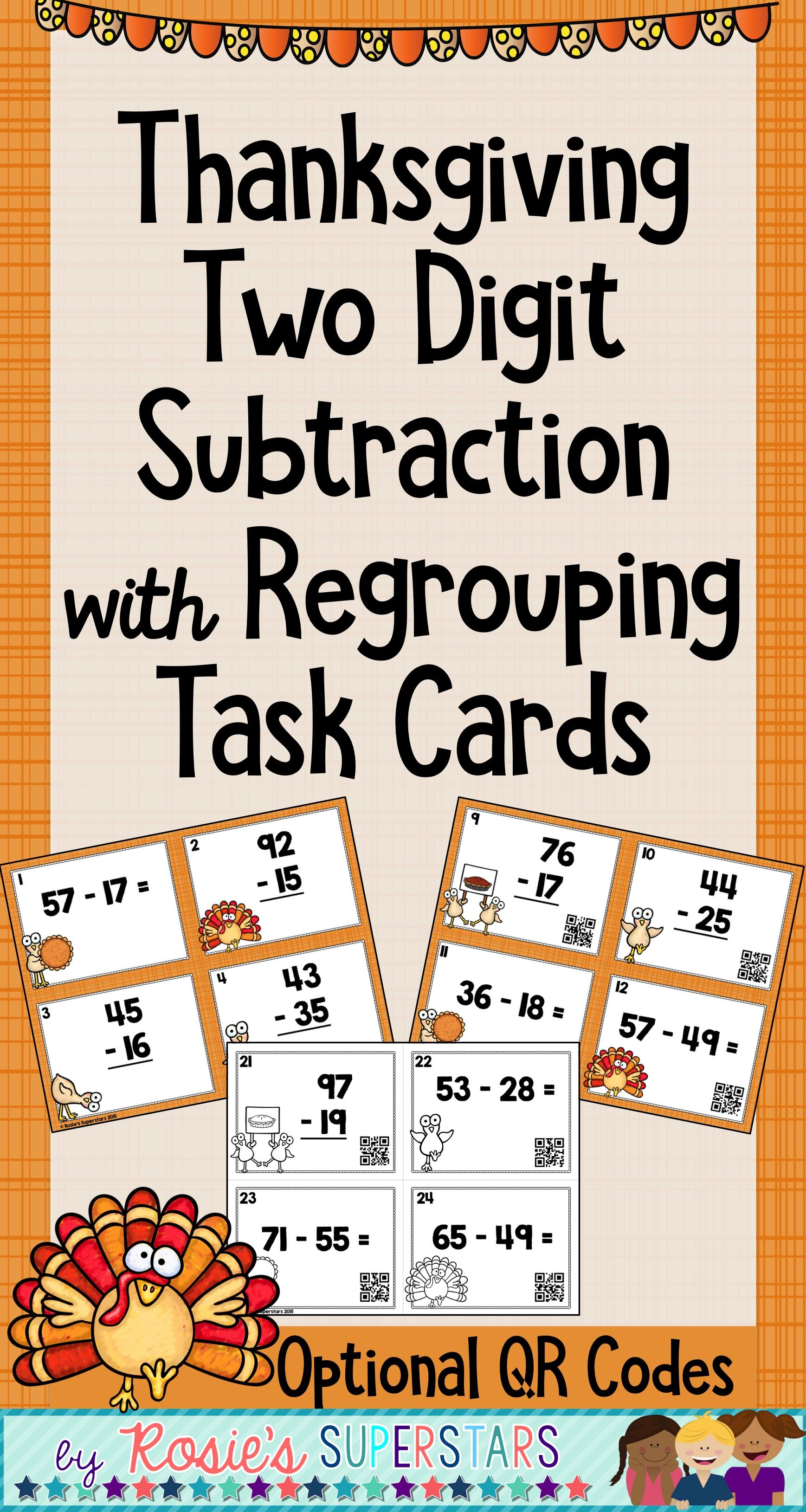 Thanksgiving Two Digit Subtraction With Regrouping Task