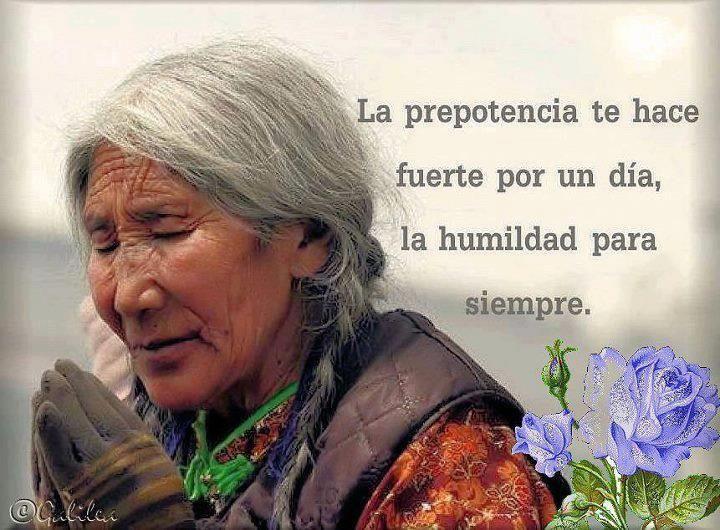 La prepotencia te hace fuerte un día, la humildad para siempre.