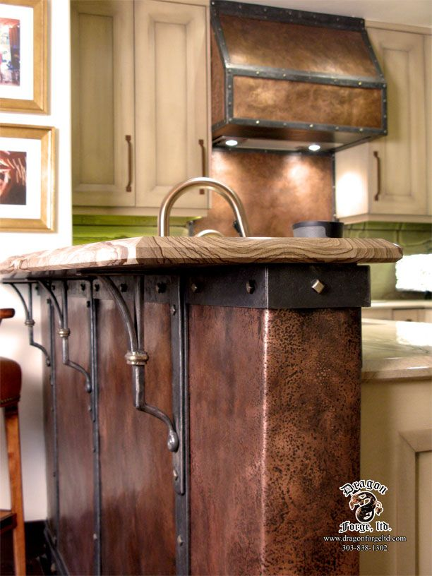 Copper Kick Plate With Steel Strapping And Copper Stove Hood Copper Stove Hoods Copper Countertops Rustic Kitchen Island