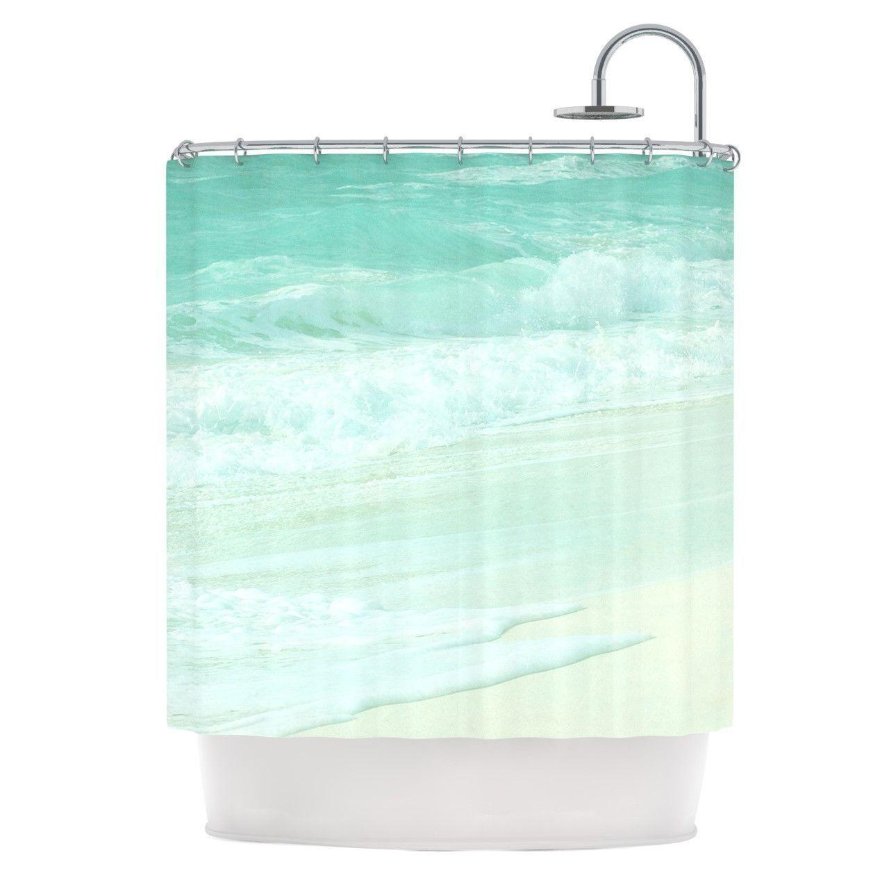 Monika Strigel Paradise Beach Mint Teal Green Shower Curtain Seafoam Aqua Waves Mexico Florida Summer Beachy Showercurtain Bathroom