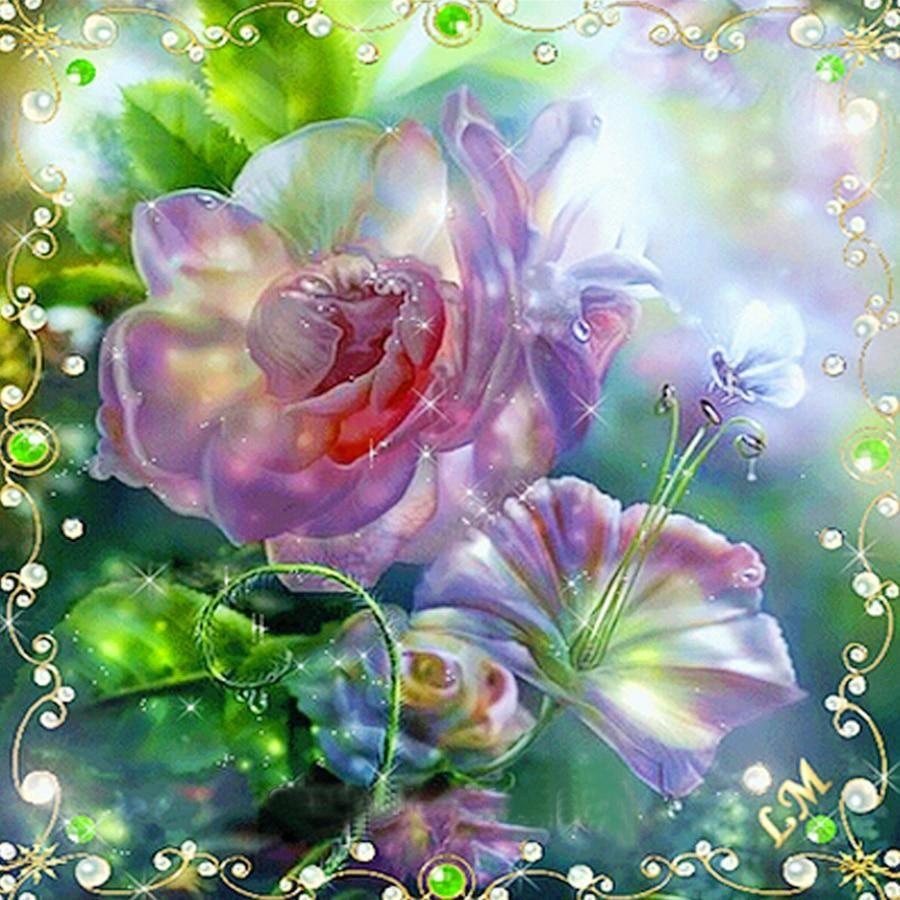 DIY Diamond Painting Transparent Morning Glory and Rose
