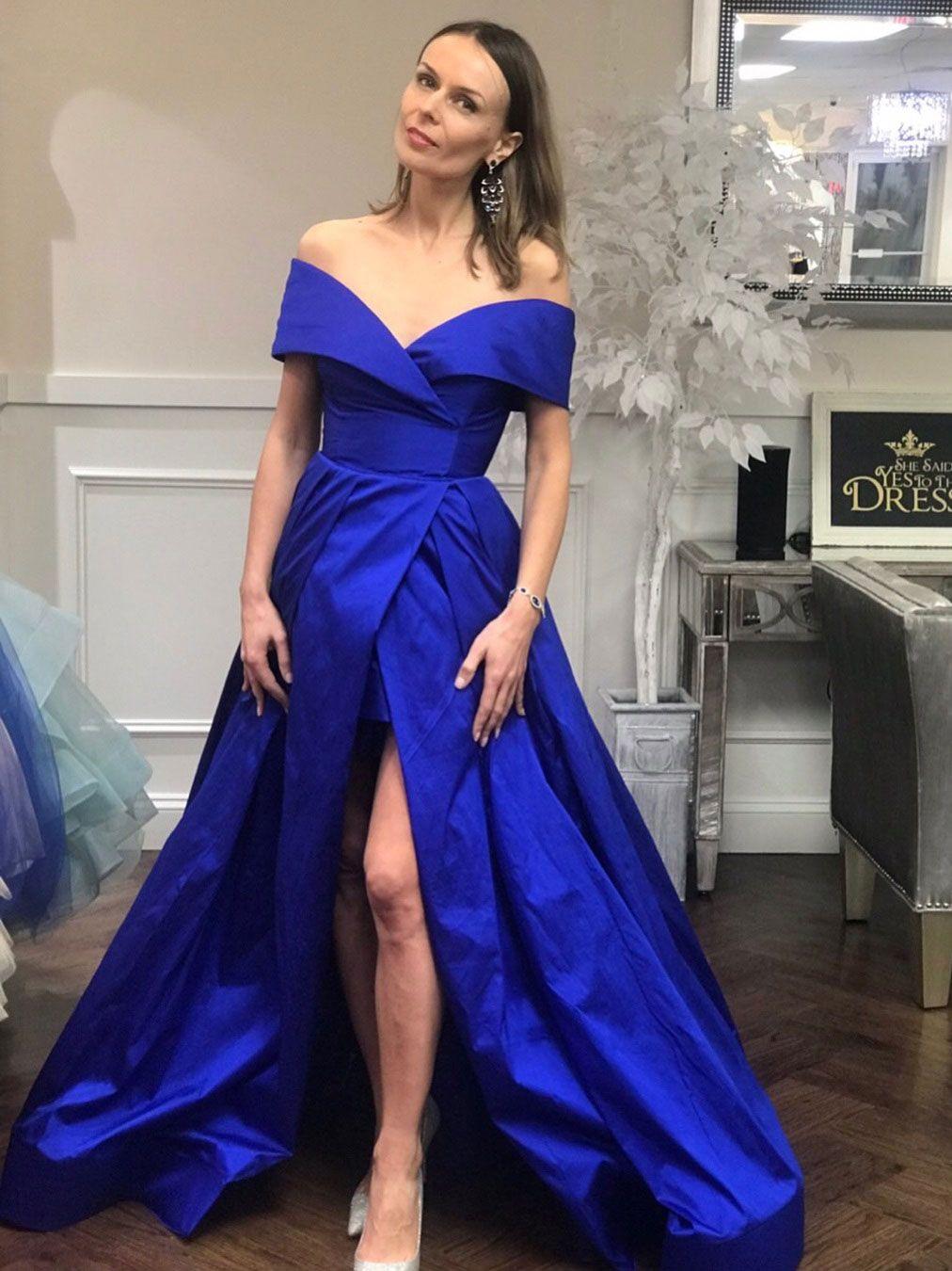Royal blue off shoulder prom dresses with slit vintage plus size