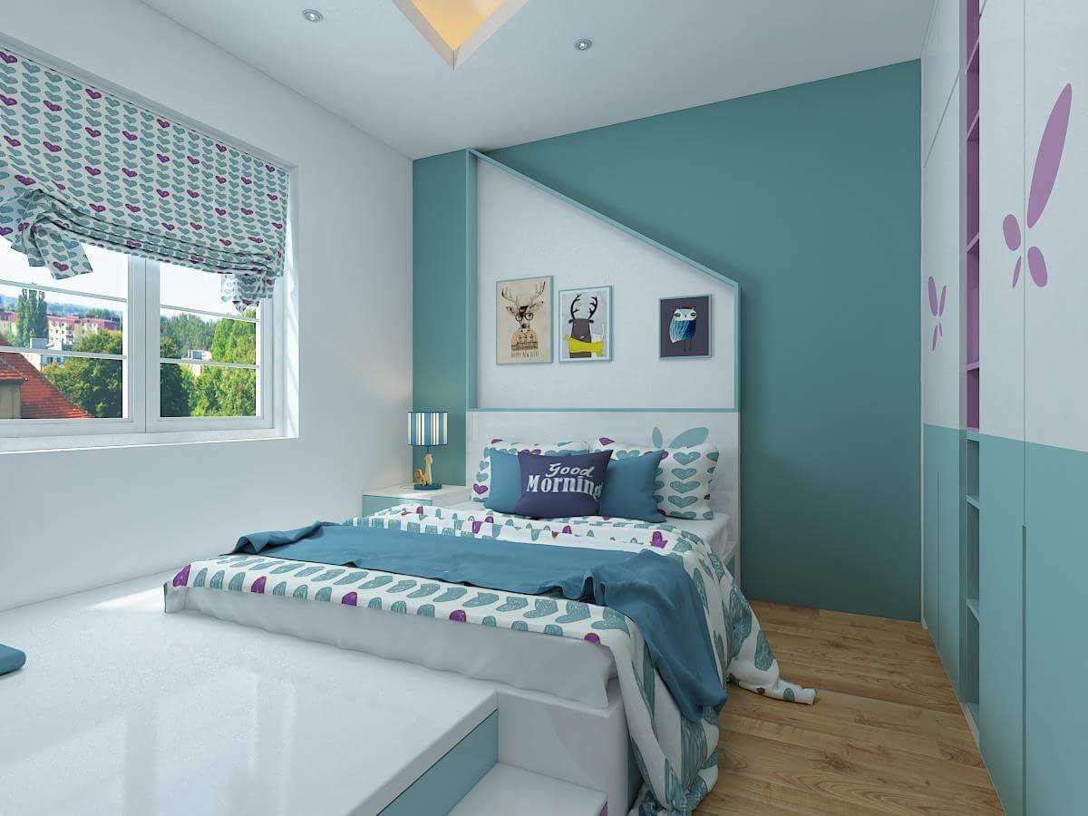 Phòng ngủ điểm nhấn màu xanh dịu