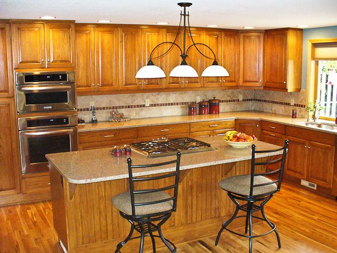 Image Result For Pictures Of Oak Cabinets With Quartz Countertops
