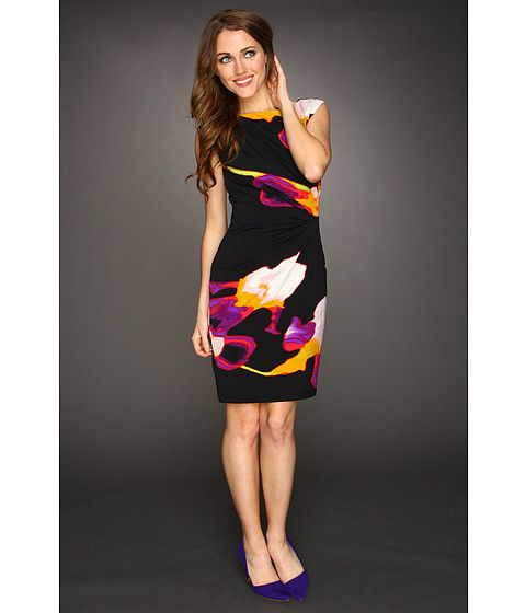 Suzi Chin for Maggy Boutique Sleeveless Side Drape Dress - Dewberry/Multi