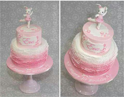 Pink ballerina bunny cake