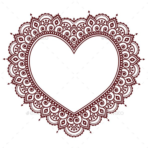 Heart design inspired by patterns from India love conceptFEATURES: 100 Vector Shapes All groups have names All elements are easy