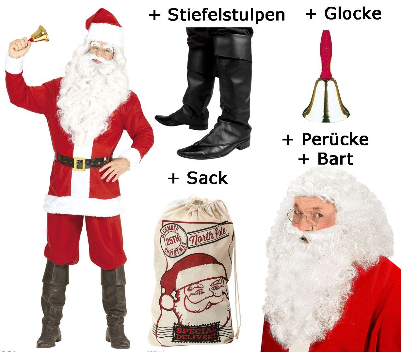 Nikolauskostüm Mantel Set Weihnachtsmann Bart Gürtel Weihnachten Santa Claus