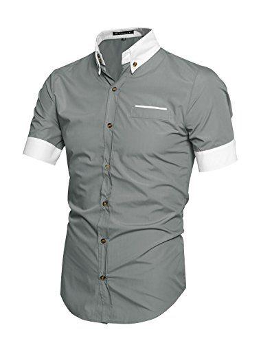 45147b05d56e nice Allegra K Men Contrast Color Short Sleeves Buttoned Shirt XL Light Grey