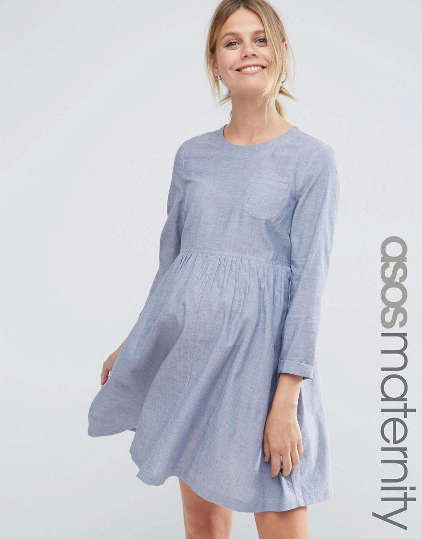 Image 1 of asos maternity long sleeve chambray smock dress image 1 of asos maternity long sleeve chambray smock dress ombrellifo Image collections