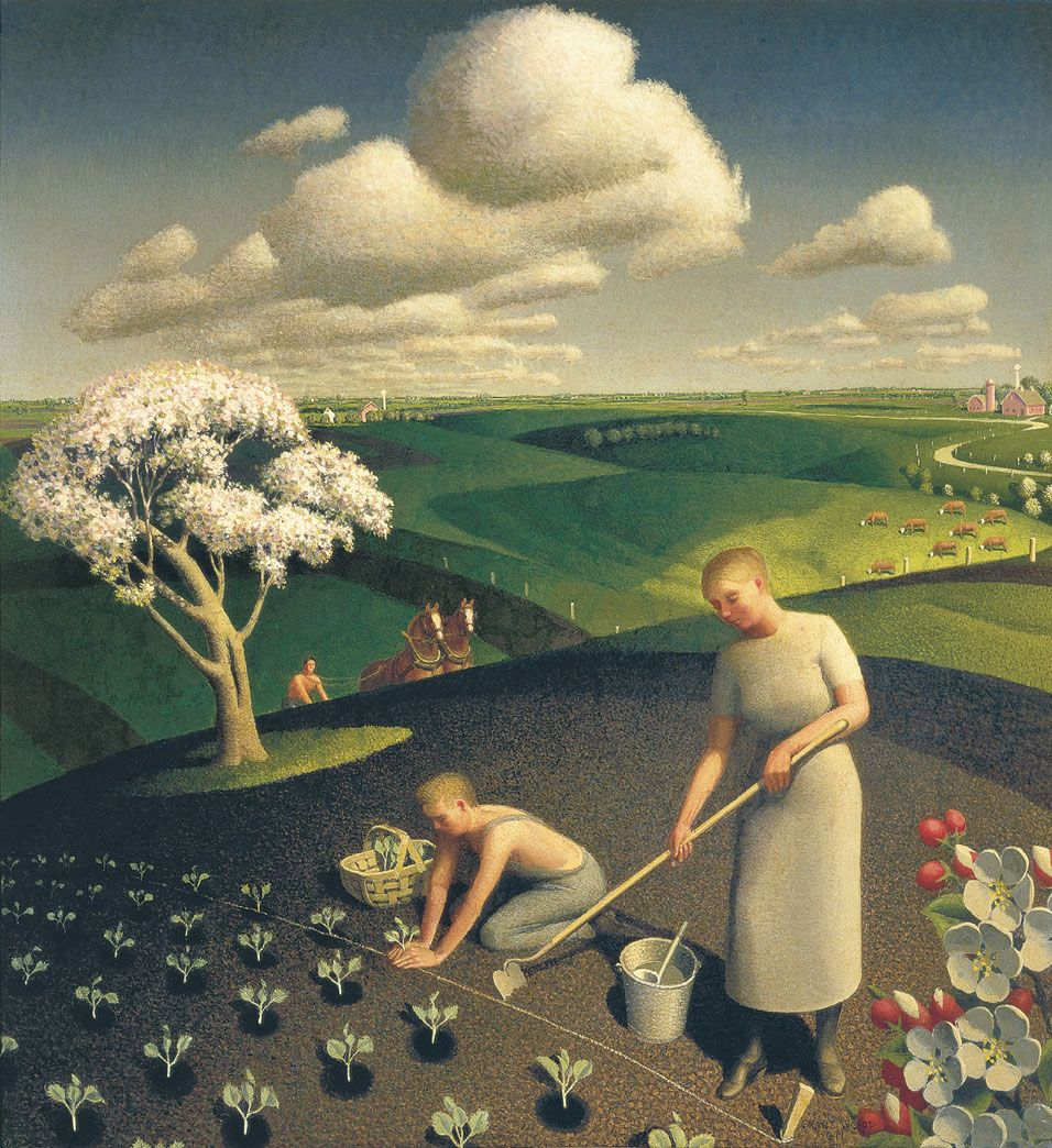 Risultati immagini per grant wood Spring in the country