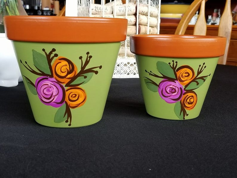 Hand Painted 4 & 3 Clay Flower Pot Cactus Bloom Etsy in
