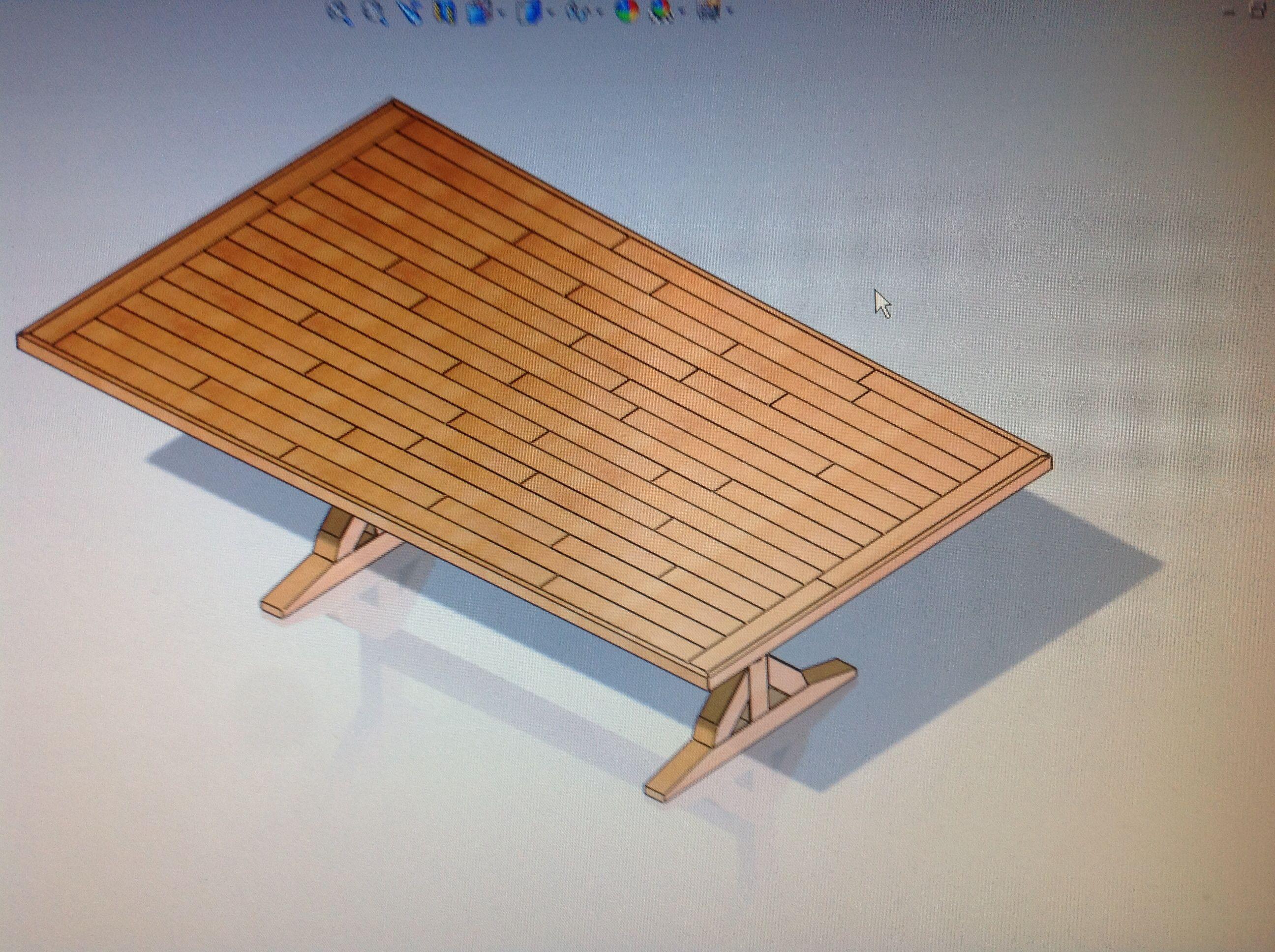 Progetto Tavolo Da Giardino.Progetto Tavolo Da Giardino Con Piano Realizzato In Listelli Di