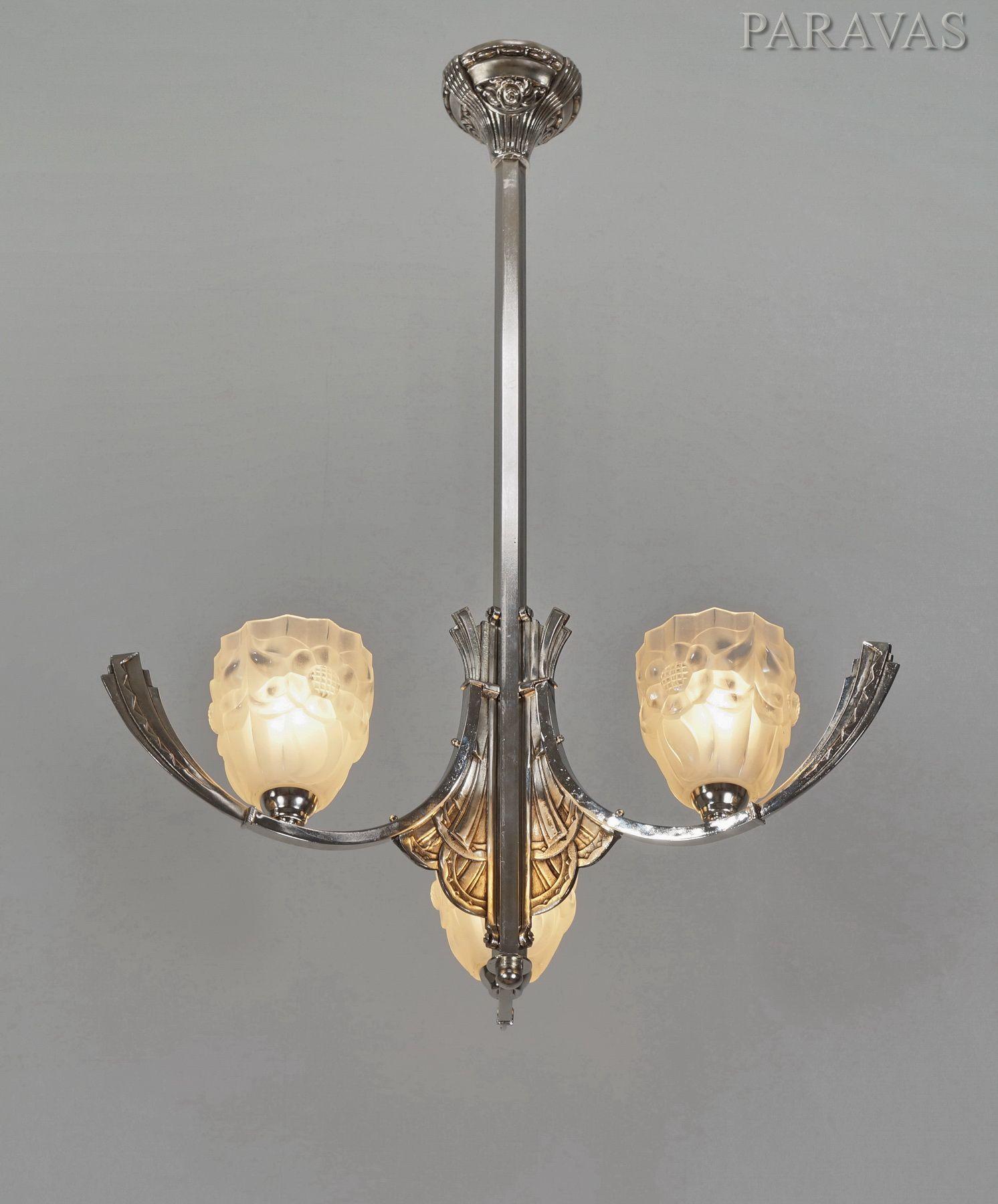 DEGUÉ French 1930 art deco chandelier paravas-ebay | Lamparas ...