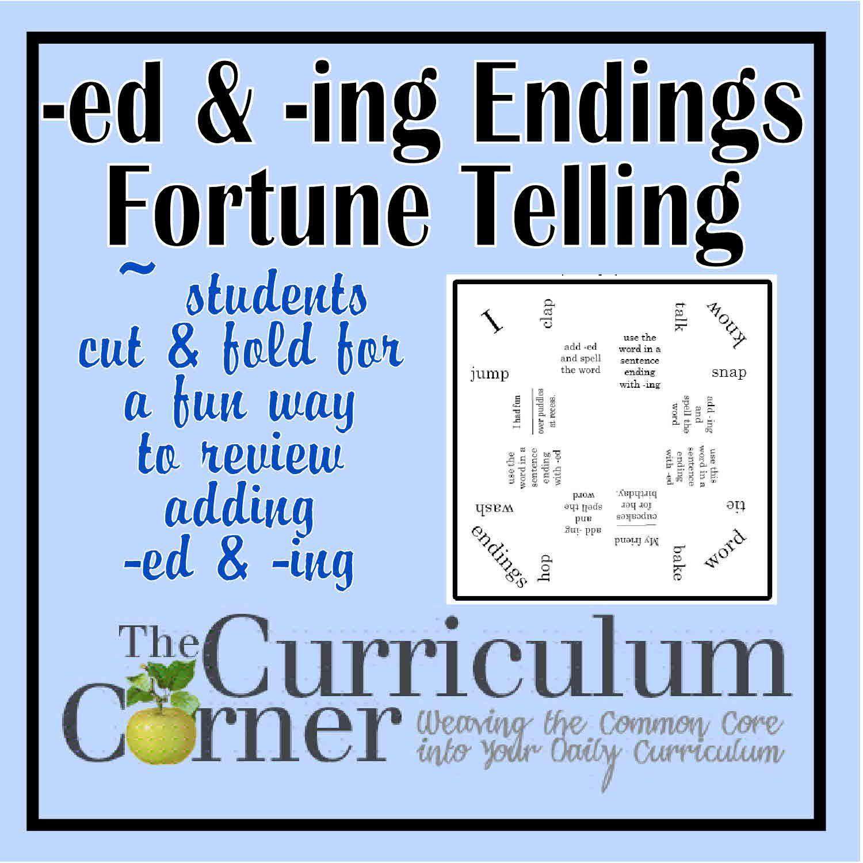 Ed Amp Ing Endings Fortune Teller