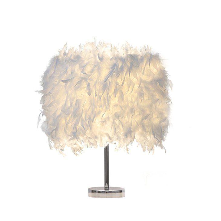Federn Tischlampe,Deko Licht mit Pure Weiße Feder Retro Lampe Für