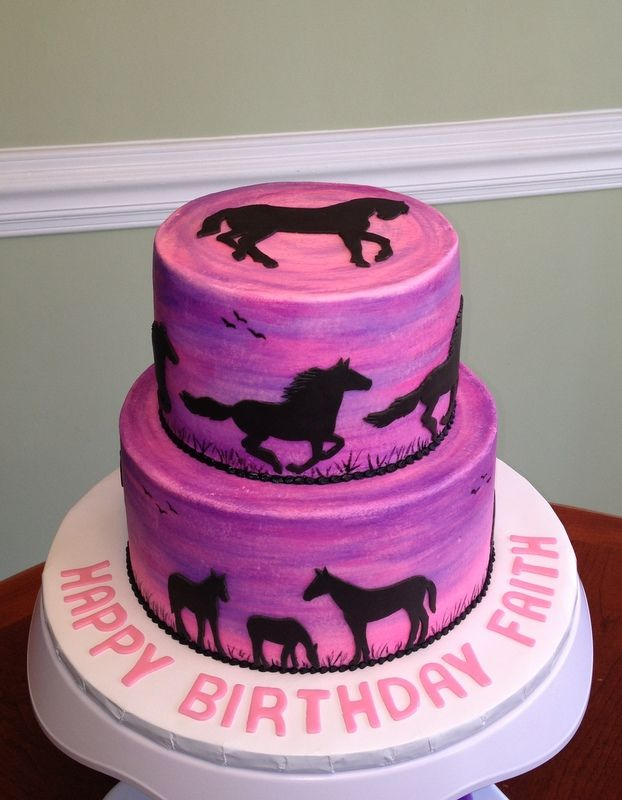 Horse Silhouette Cake Birthday Cakes Theme Party Cowgirl