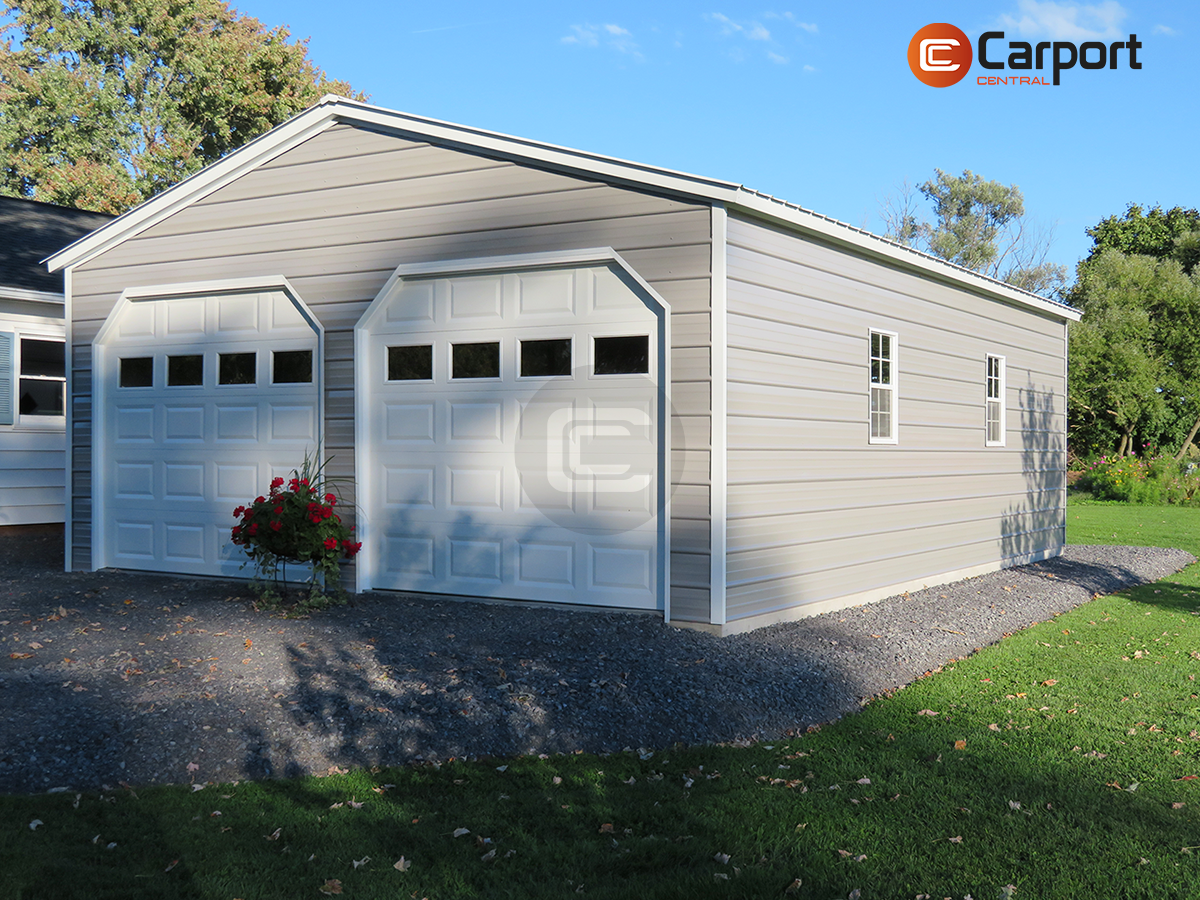 22 X 30 Two Car Metal Garage In 2020 Metal Garages Metal