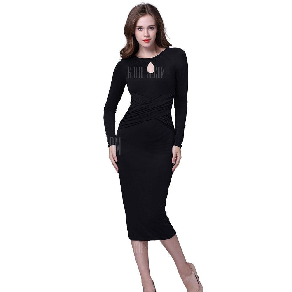 Kenancy retro pencil dress elegant water droplets hollow round neck