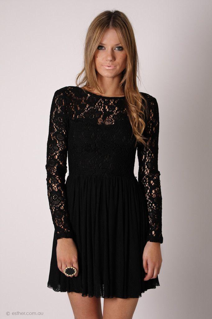 ab16eedc5153 journey long sleeve lace cocktail - black