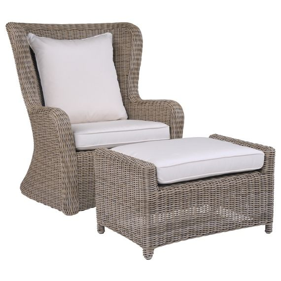 Kingsley Bate Elegant Outdoor Furniture Sag Harbor High Back Lounge Chair And Ottoman Made From All Weather Wicker