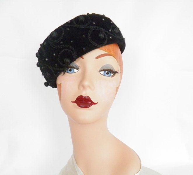 Vintage Schiaparelli hat, black tilt pillbox, Paris, Italy by TheVintageHatShop…