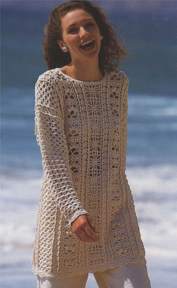 PDF Ladies Tunic Sweater Crochet Pattern : 30 - 32, 34 - 36, 38 ...