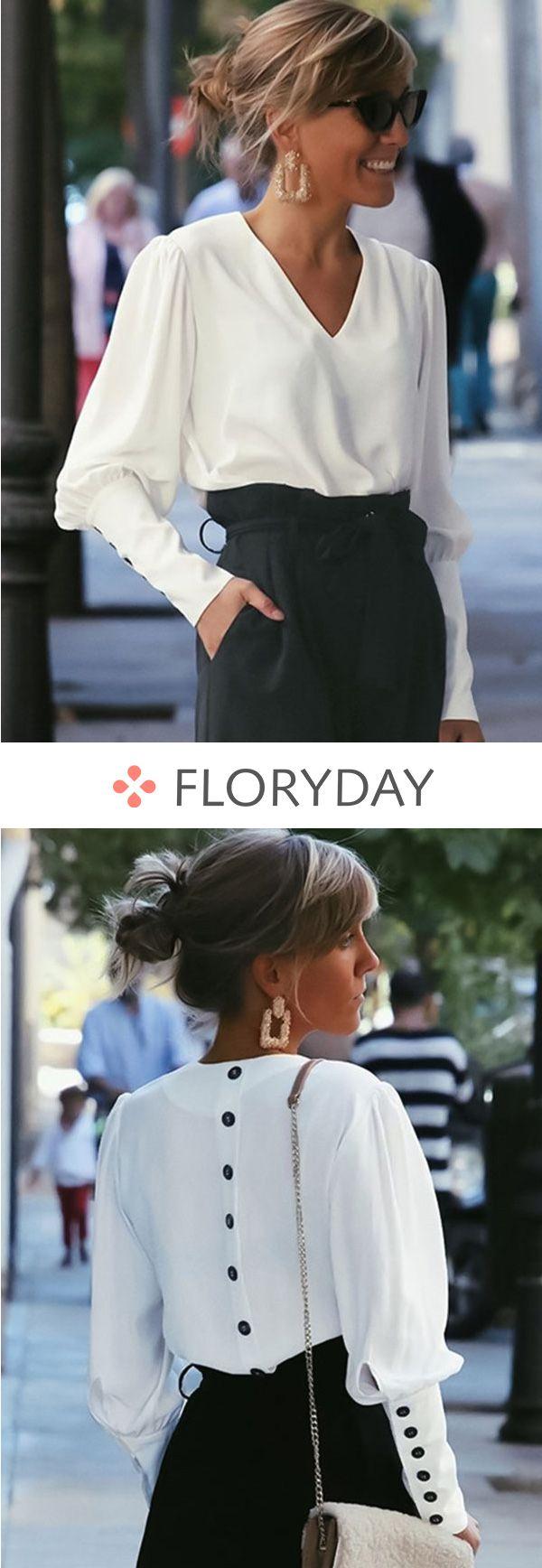 ee1e3f72b287 Solid V-neckline long sleeve blouses