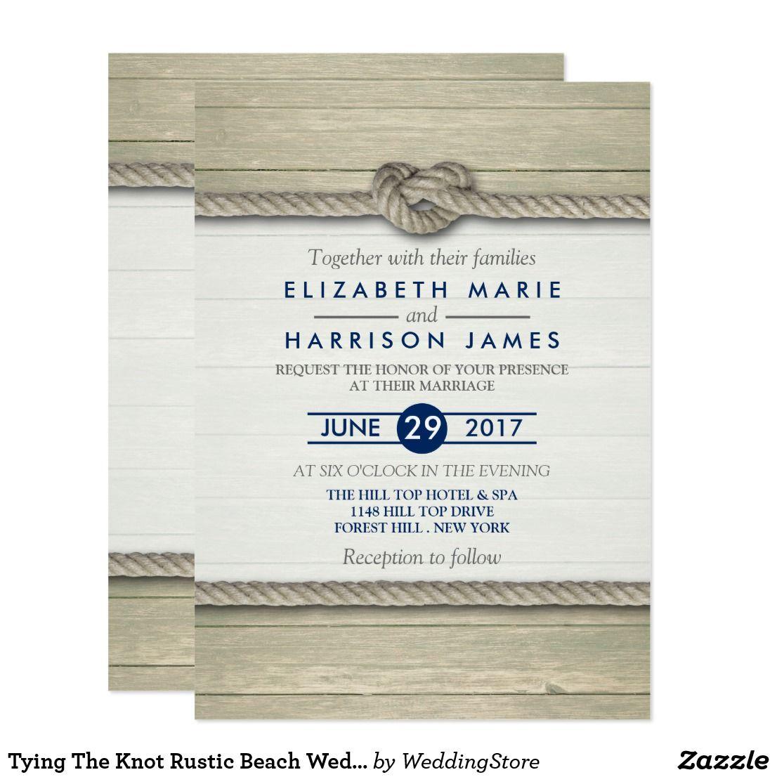 Tying The Knot Rustic Beach Wedding Card | Rustic Beach Invitations ...