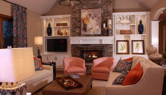 Stone Tile Fireplace White Built Ins Publicado Por Zavahu En 12 32
