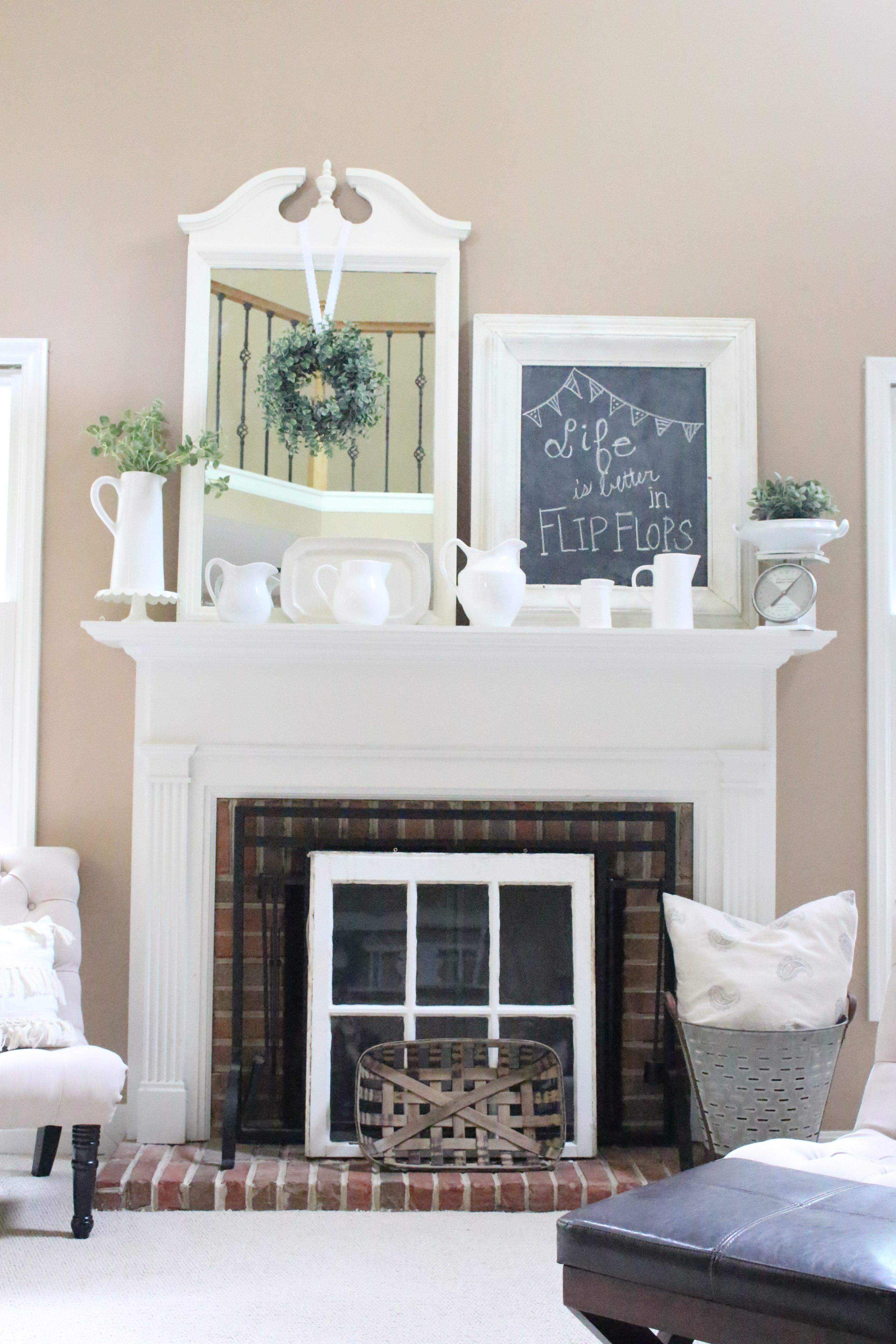 Summer Mantel- Mantle- summer decor- decorating your mantel for ...