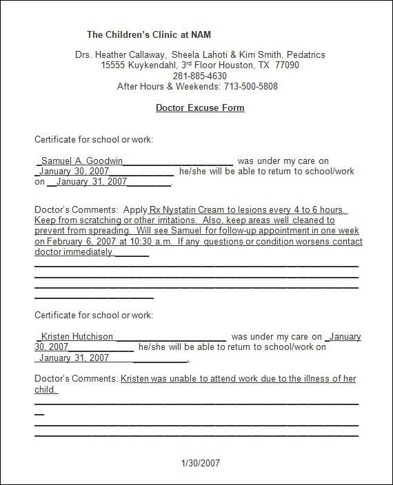doctor-note-template Good thoughts Pinterest Notes template - return to work form
