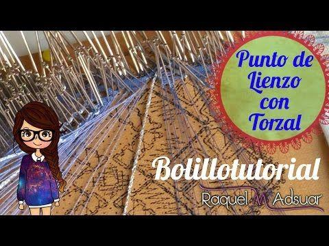 Realizar punto de Lienzo con Torzal (Bolillotutorial nº 8 - abanico). Raquel M. Adsuar - YouTube