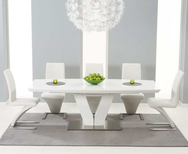 z shaped high chair xl zero gravity the malaga 180cm white gloss extending dining table with hampstead ivory chairs