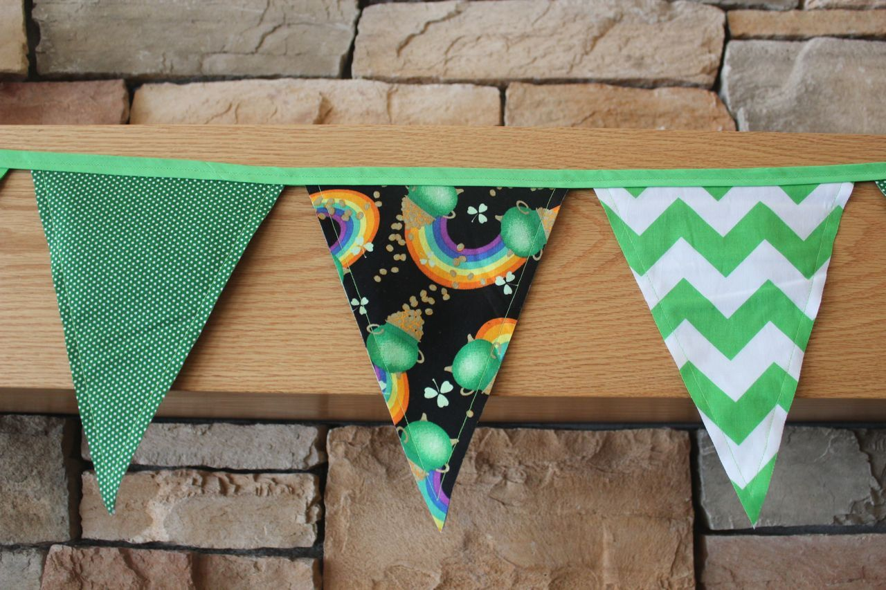 Fabric Banner - Fabric Bunting - St. Patrick's Day with Chevrons by monkeyandlamb on Etsy