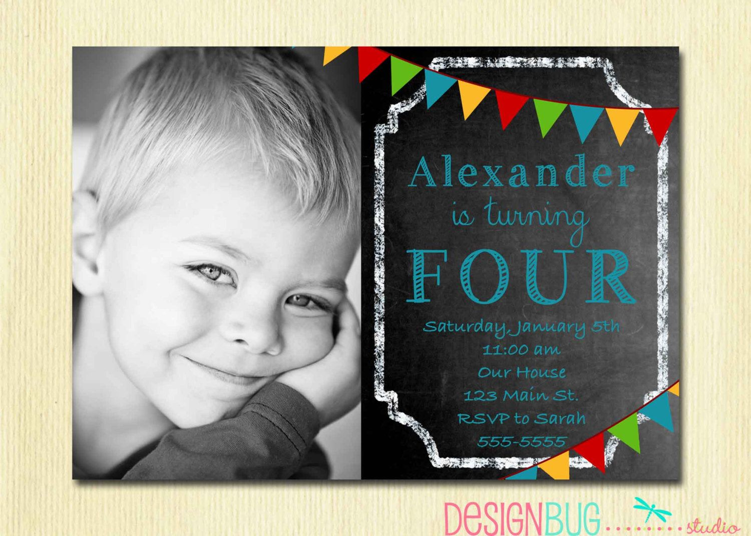 Boys Chalkboard Birthday Invitation - 1, 2, 3, 4, 5...100 year old ...